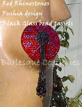 Swarovski rhinestone pasties red, fushia black with black bead tassels