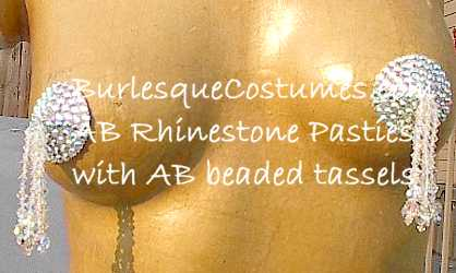 Swarovski AB rhinestone pasties with AB beaded tassels