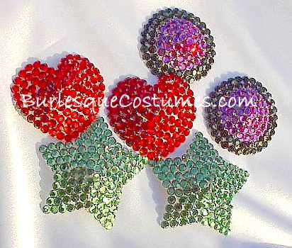Swarovski rhinestone pasties red, fushia black with black, Stars, Red Hearts